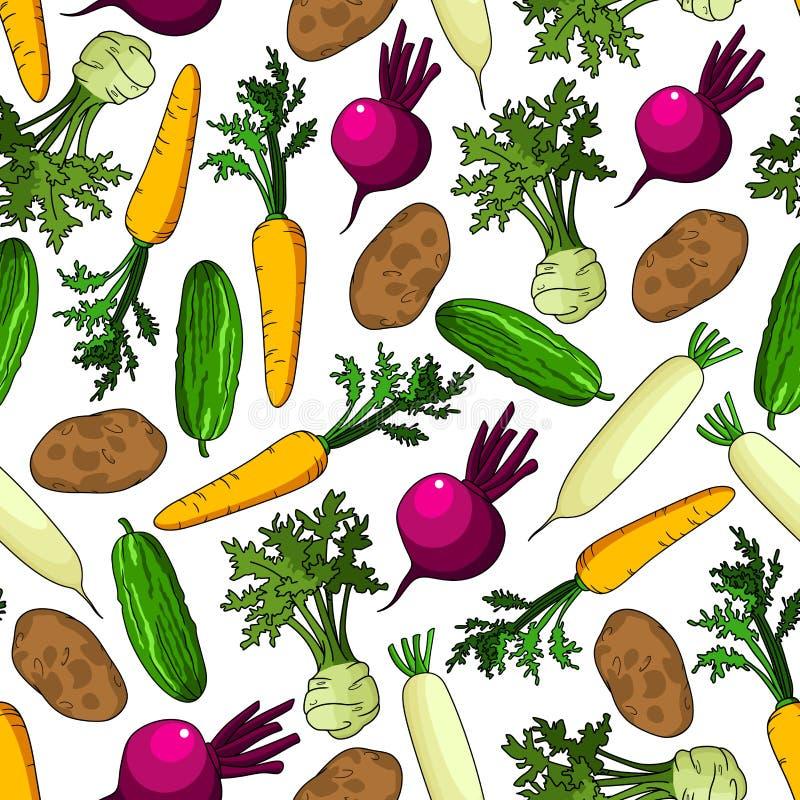 Modelo inconsútil orgánico sano de las verduras frescas stock de ilustración