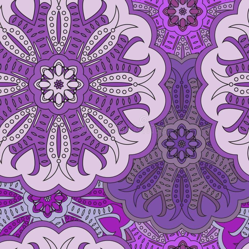 Modelo inconsútil oriental floral hermoso hecho de muchas mandalas ilustración del vector