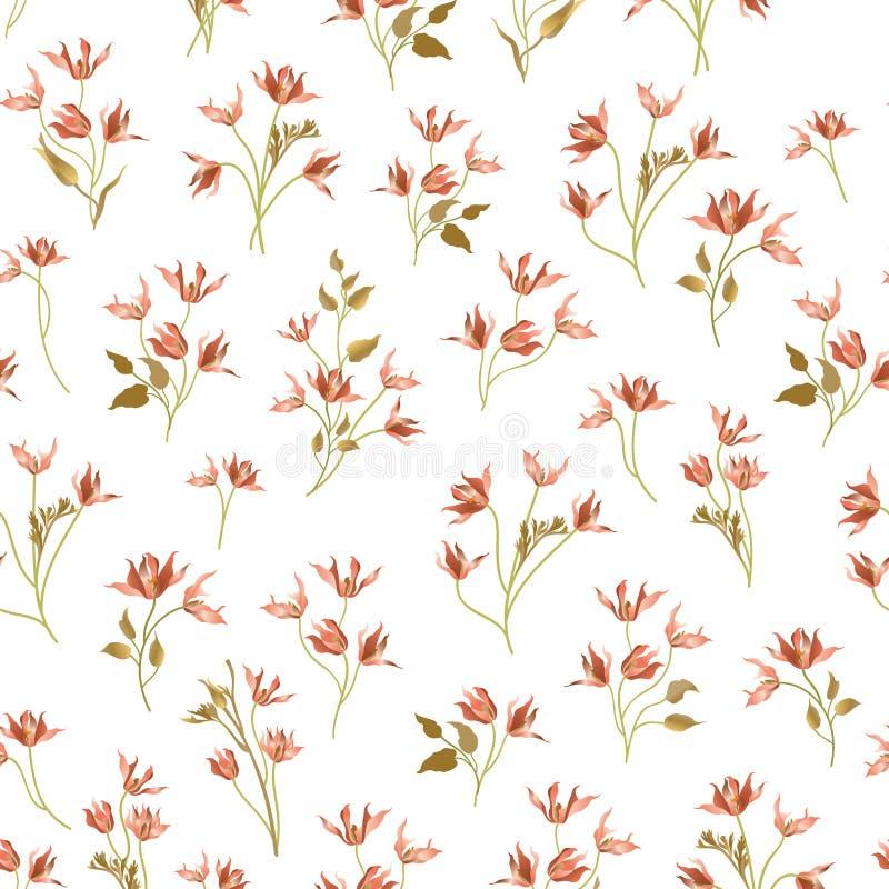 modelo inconsútil ornamental floral Fondo del jardín de flores La Florida stock de ilustración