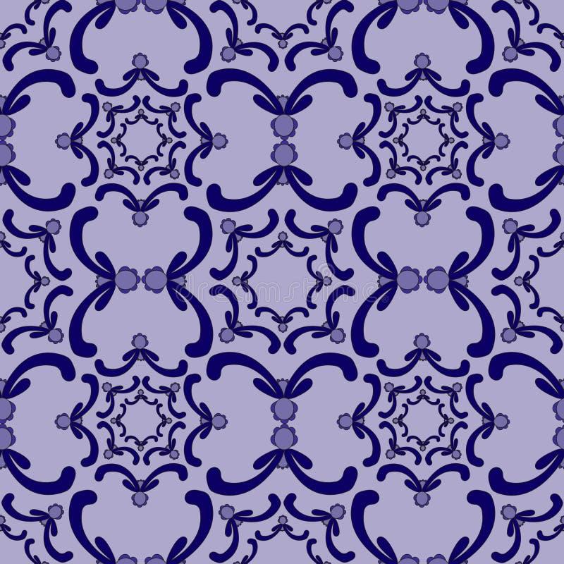 Modelo inconsútil ornamental Modelo de la vendimia Elementos azules de la curva stock de ilustración