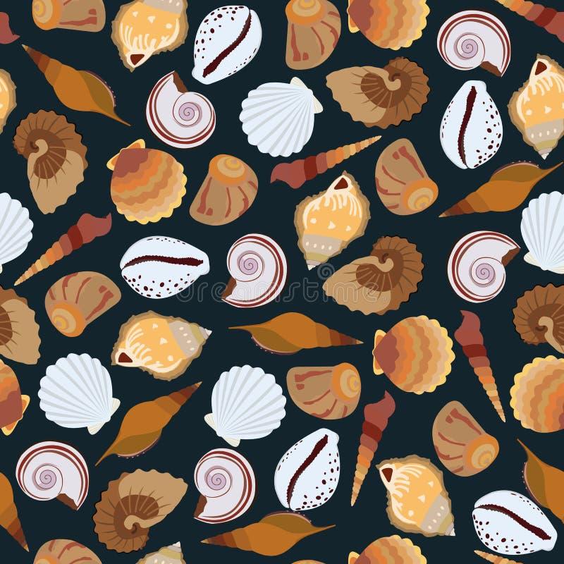 Modelo inconsútil oscuro de conchas marinas ilustración del vector