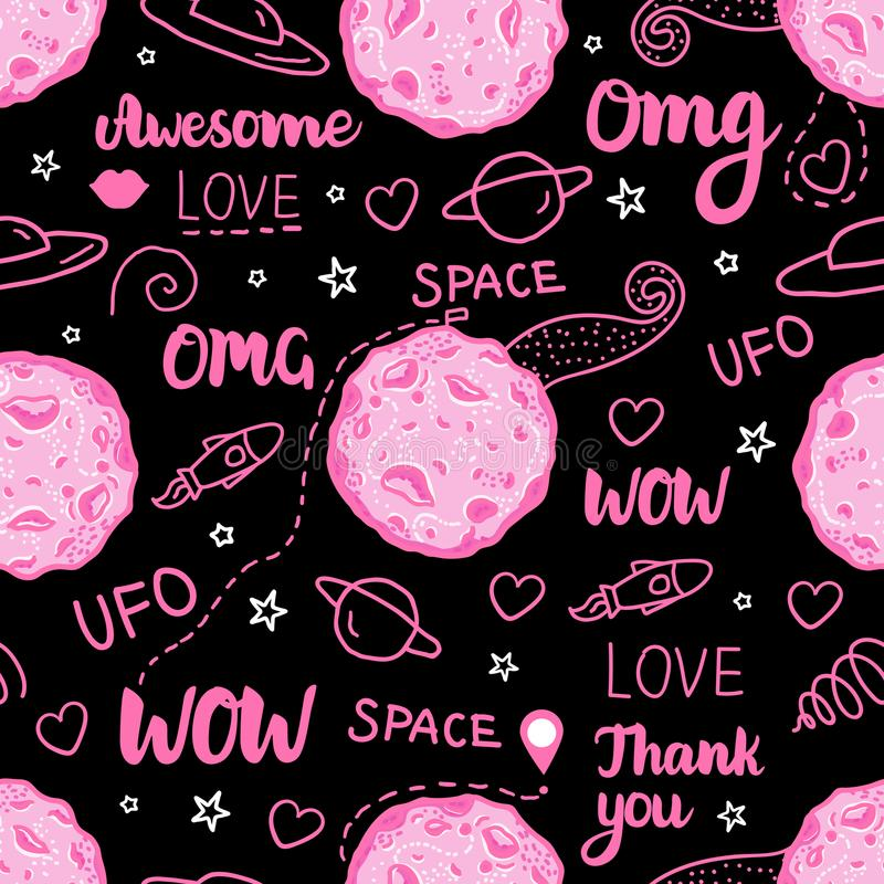Modelo inconsútil oscuro del garabato del espacio Vector el ejemplo dibujado mano rosada aislado en fondo negro libre illustration