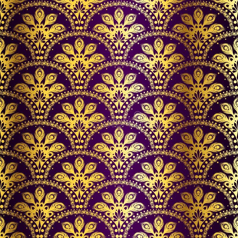 Modelo inconsútil púrpura de la sari del pavo real libre illustration
