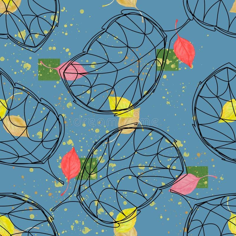 Modelo inconsútil para el diseño La acuarela deja la cereza con la hoja gráfica en un fondo azul ilustración del vector