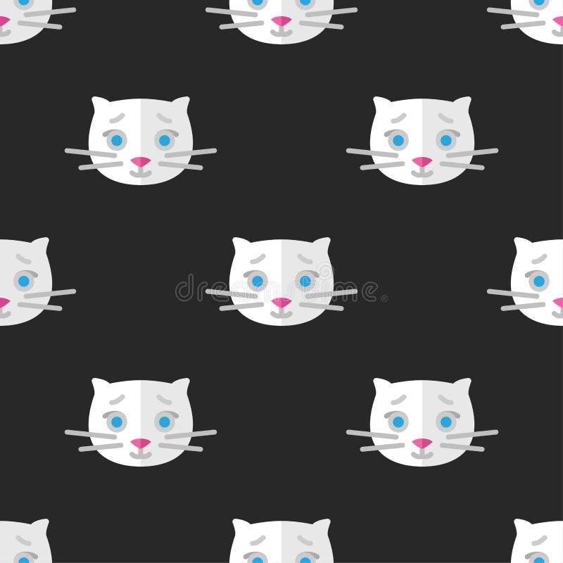 Modelo inconsútil para las materias textiles con los gatitos blancos lindos en un fondo oscuro Ejemplo del vector en estilo plano libre illustration