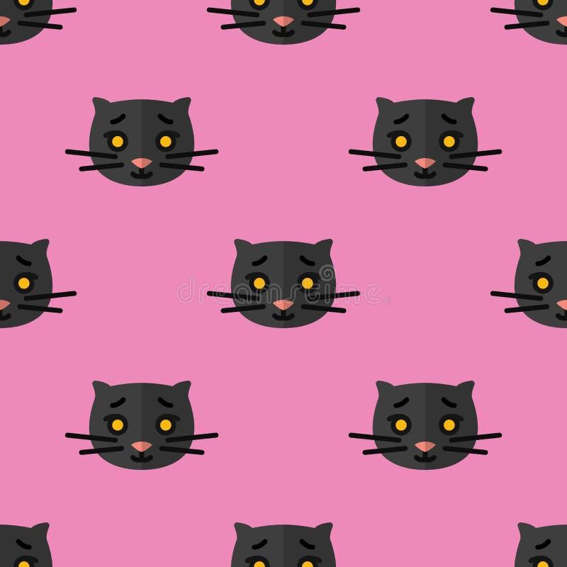 Modelo inconsútil para las materias textiles con los gatitos negros lindos en un fondo rosado Ejemplo del vector en estilo plano ilustración del vector