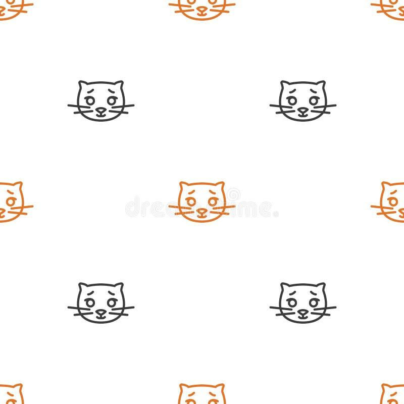 Modelo inconsútil para las materias textiles con los gatos lindos en un fondo blanco Ejemplo del vector en la l?nea estilo stock de ilustración