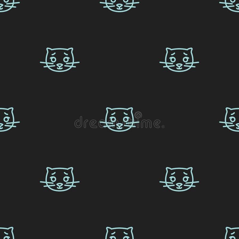Modelo inconsútil para las materias textiles con los gatos lindos en un fondo negro Ejemplo del vector en la l?nea estilo ilustración del vector