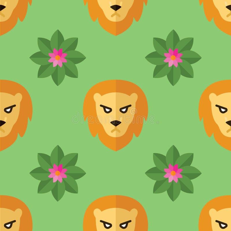 Modelo inconsútil para las materias textiles con los leones y las flores en una luz, fondo verde Ejemplo del vector en estilo pla stock de ilustración
