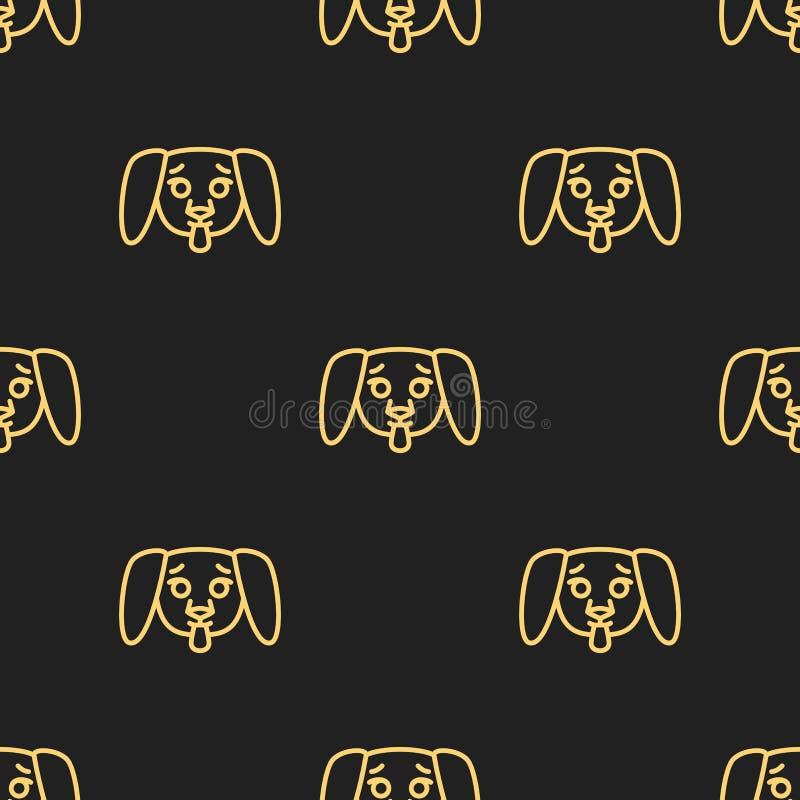 Modelo inconsútil para las materias textiles con los perritos lindos en un fondo negro Ejemplo del vector en la l?nea estilo libre illustration