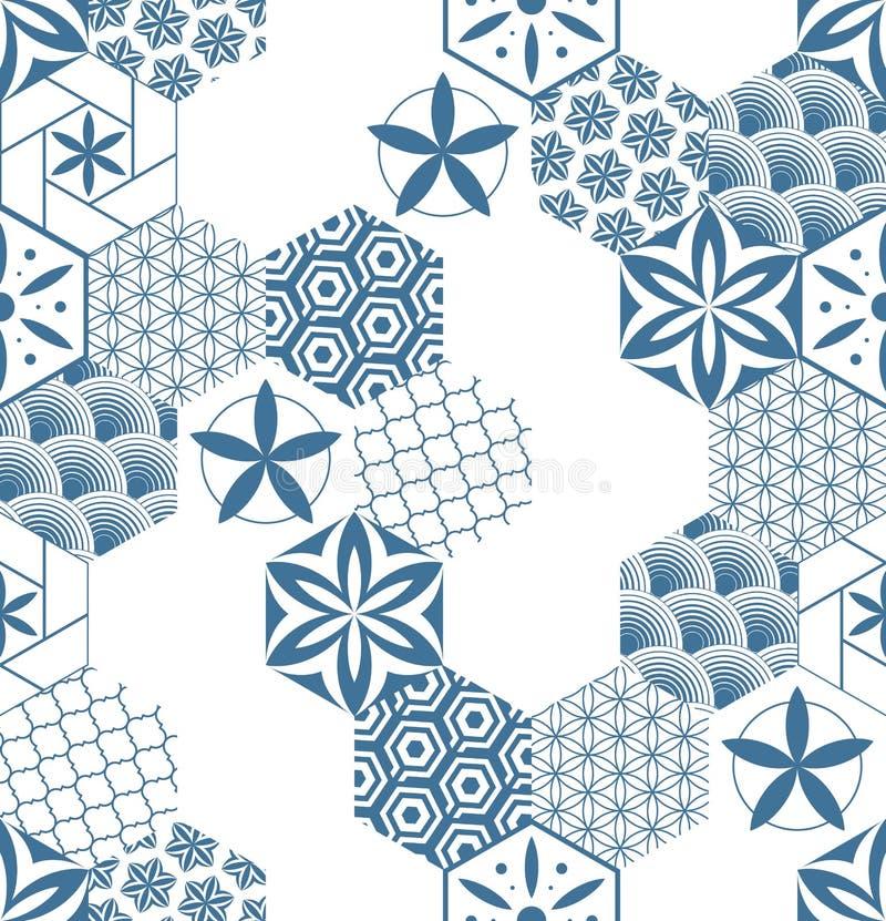 Modelo inconsútil para las tejas en el cuarto de baño Dibujo para las materias textiles caseras Modelo hecho de hexágonos ilustración del vector