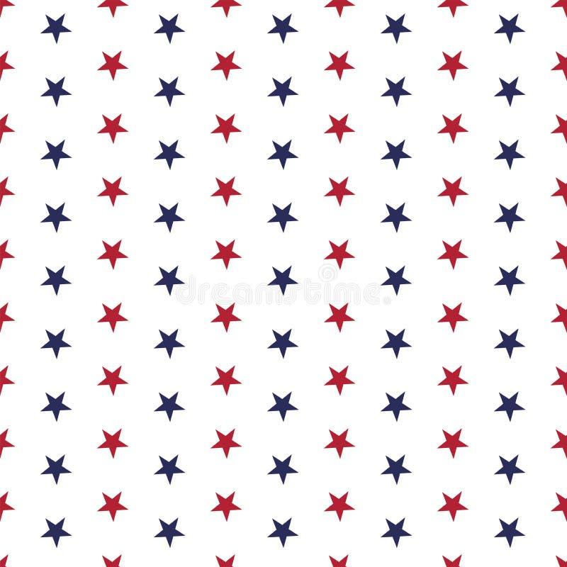 Modelo inconsútil patriótico americano con las estrellas en colores rojos, azules y blancos tradicionales ilustración del vector