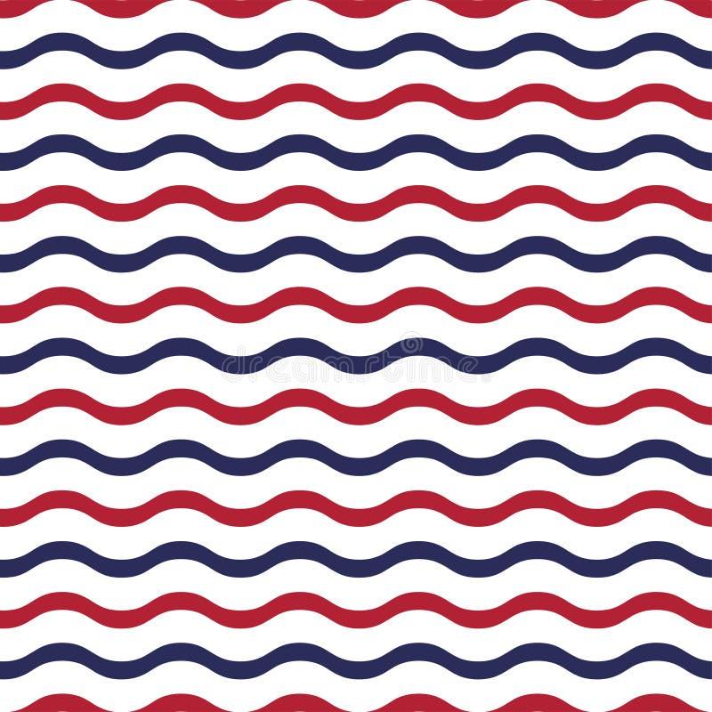 Modelo inconsútil patriótico americano con las ondas en colores rojos, azules y blancos tradicionales ilustración del vector