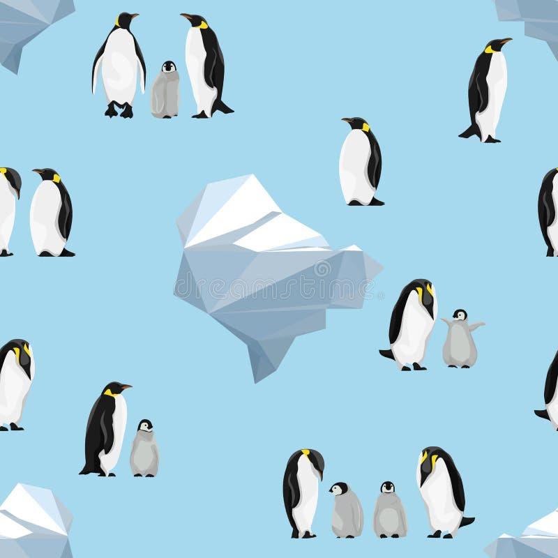 Modelo inconsútil Pingüinos de emperador en un fondo azul icebergs ilustración del vector