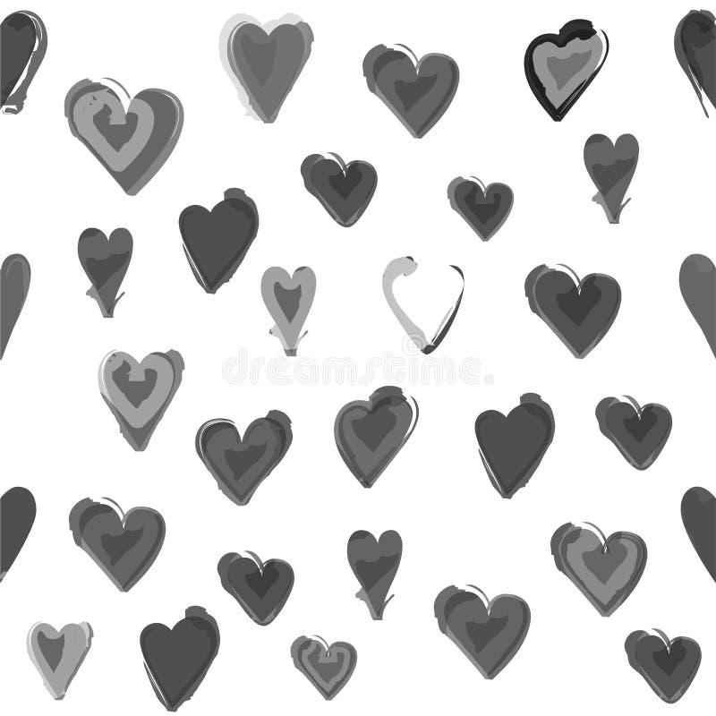 Modelo inconsútil pintado agua del corazón stock de ilustración