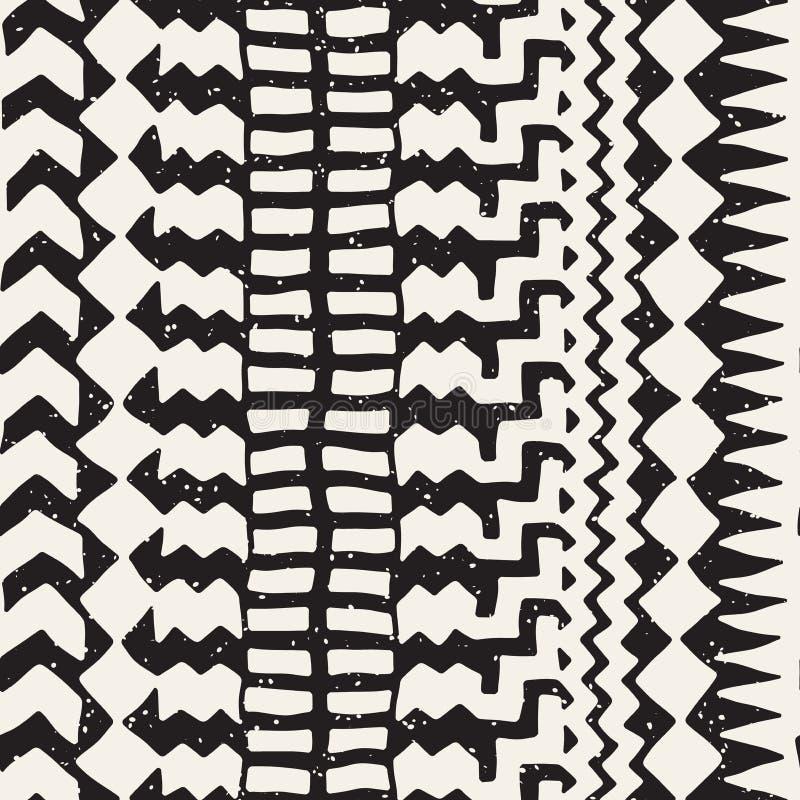 Modelo inconsútil pintado dibujado mano Fondo tribal del diseño del vector Adorno étnico Líneas étnicas geométricas ejemplo de la stock de ilustración