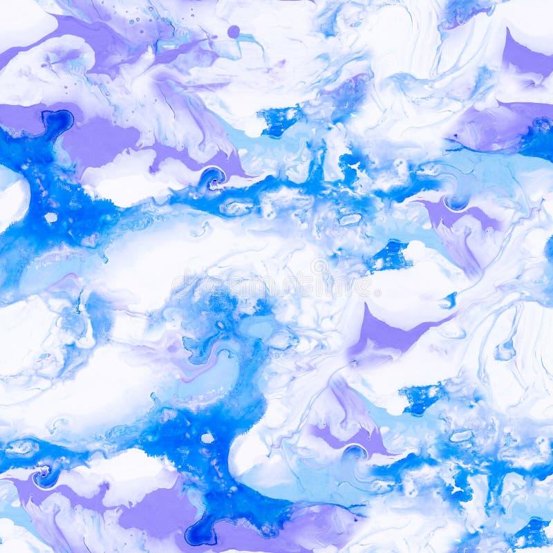 Modelo inconsútil pintado a mano abstracto azul y violeta ilustración del vector