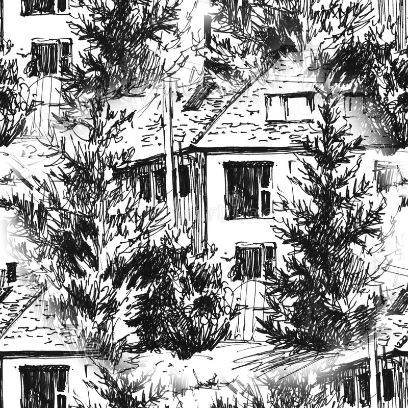 Modelo inconsútil pintado a mano Línea dibujada urbana estilo de la tinta de los paisajes a disposición Viejo bosquejo de la call libre illustration