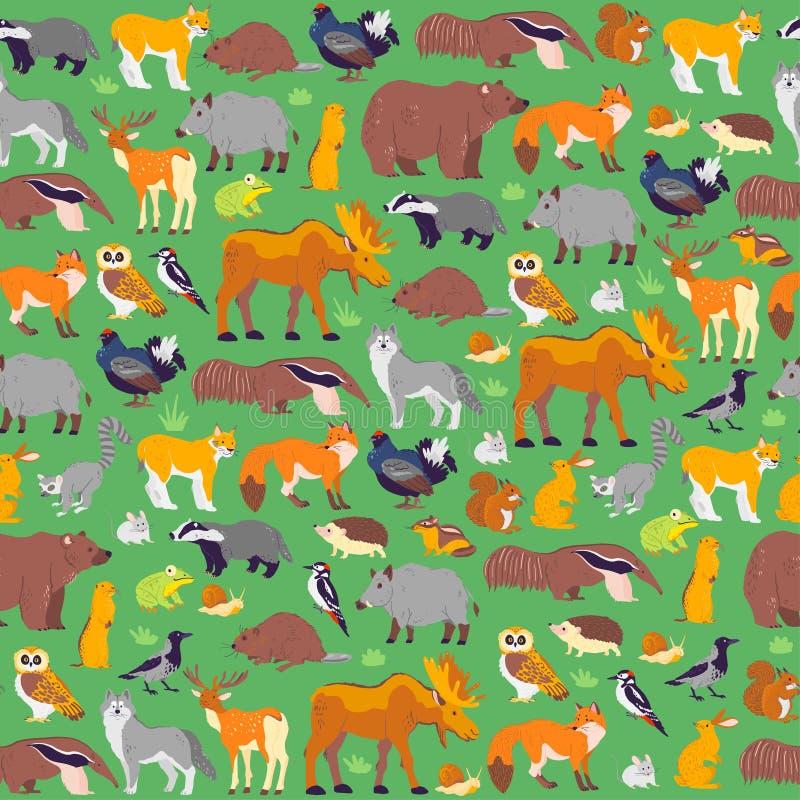 Modelo inconsútil plano del vector con los animales salvajes y los pájaros del bosque aislados en fondo verde ilustración del vector