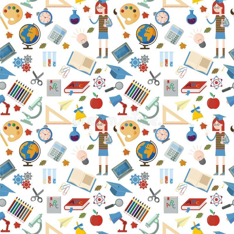 Modelo inconsútil plano en el tema de la escuela, educación, de nuevo a escuela ilustración del vector