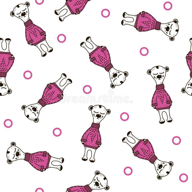 Modelo inconsútil polar del peluche del oso Vector del garabato stock de ilustración