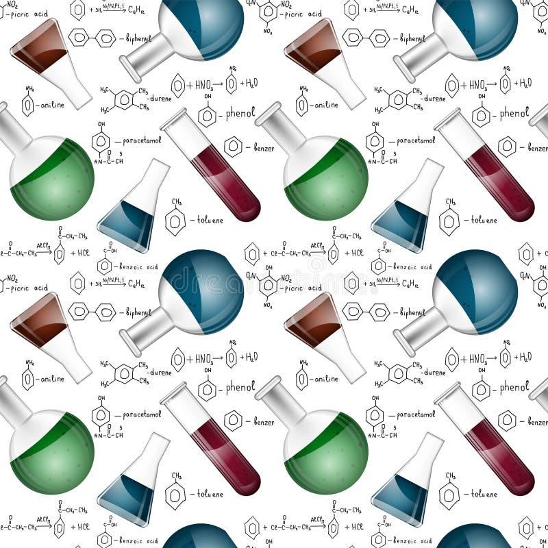 Modelo inconsútil químico con los frascos libre illustration