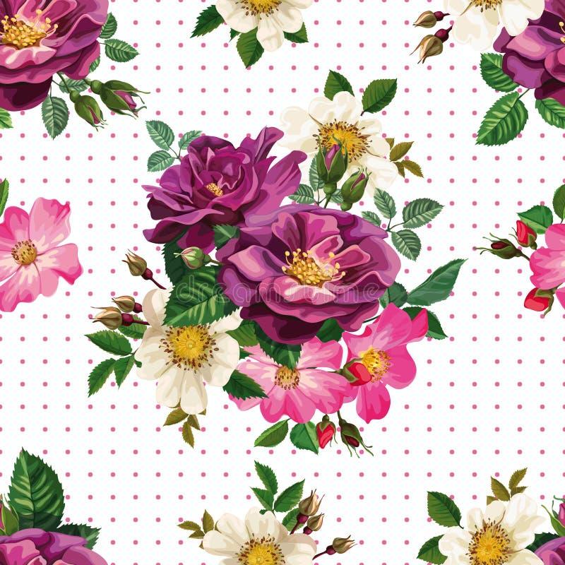 Modelo inconsútil, ramo de flores libre illustration