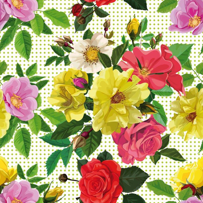 Modelo inconsútil, ramo de flores ilustración del vector