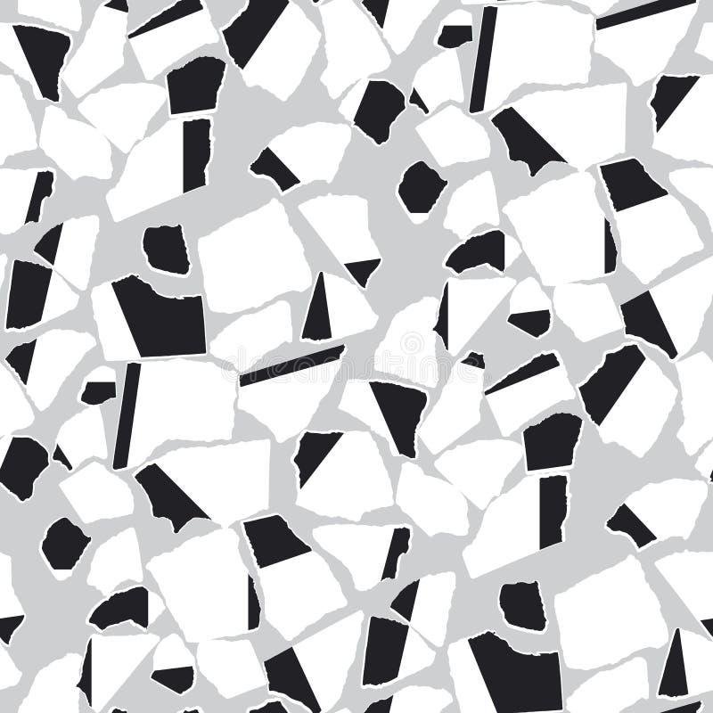 Modelo inconsútil rasgado de los pedazos del vector de papel completamente stock de ilustración