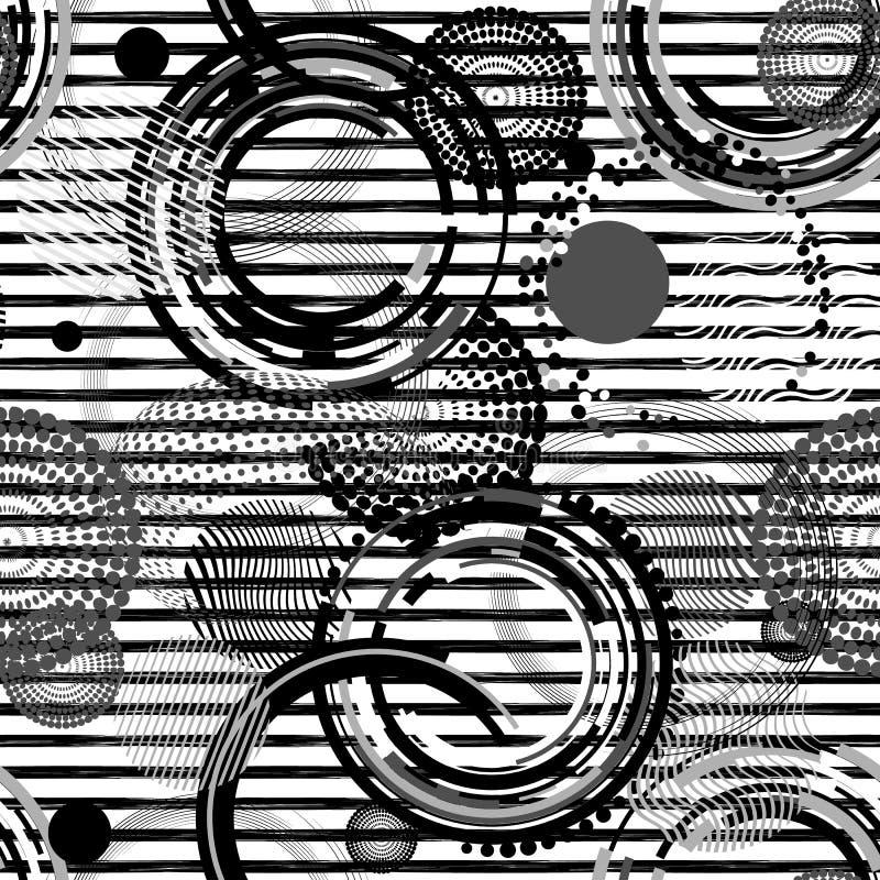 Modelo inconsútil rayado abstracto Fondo creativo del vector con las figuras geométricas Moderno, grunge, blanco y negro stock de ilustración