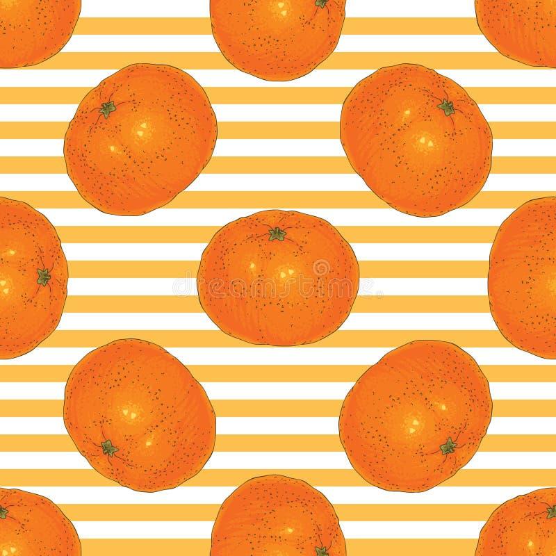 Modelo inconsútil rayado con las rebanadas de la mandarina ilustración del vector