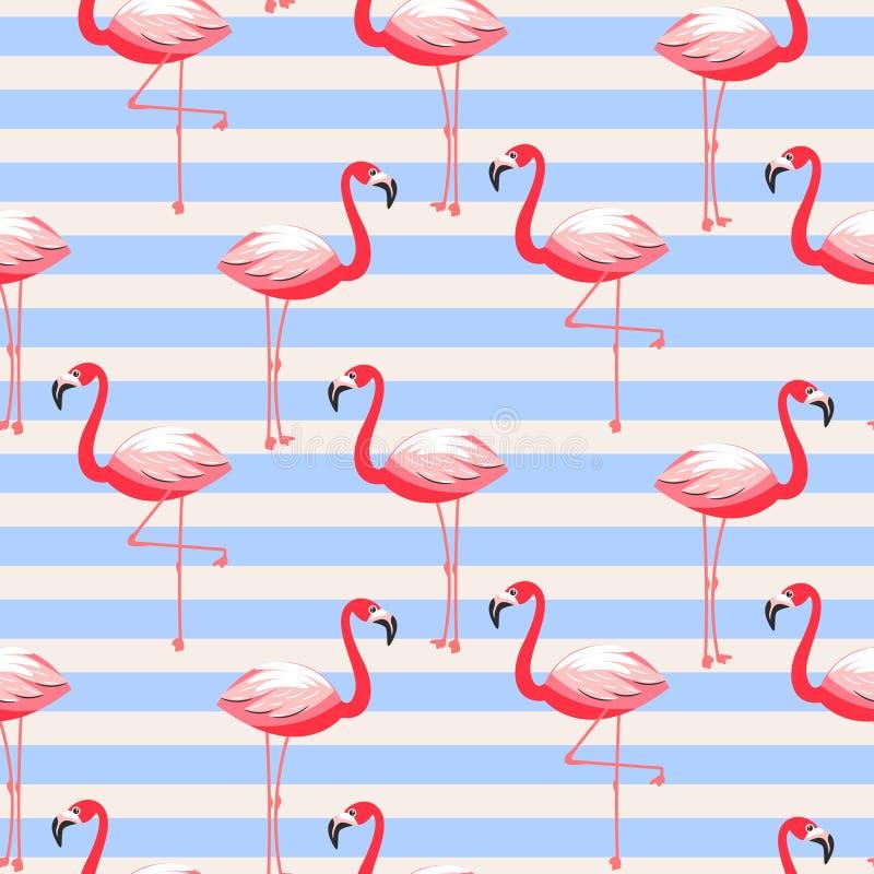 Modelo inconsútil rayado del pájaro exótico del flamenco stock de ilustración