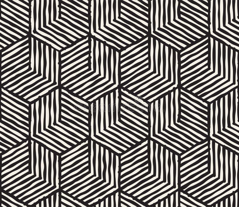 Modelo inconsútil rayado dibujado mano de la tinta blanco y negro Textura del enrejado del grunge del vector El cepillo monocromá libre illustration