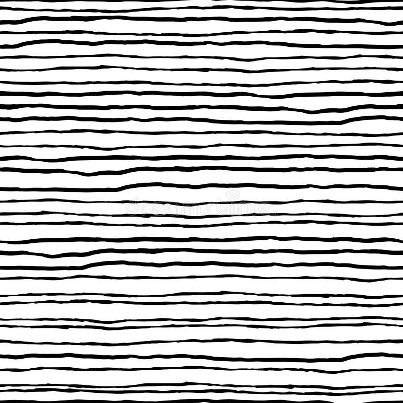 Modelo inconsútil rayado Lineas horizontales negras en una parte posterior del blanco stock de ilustración