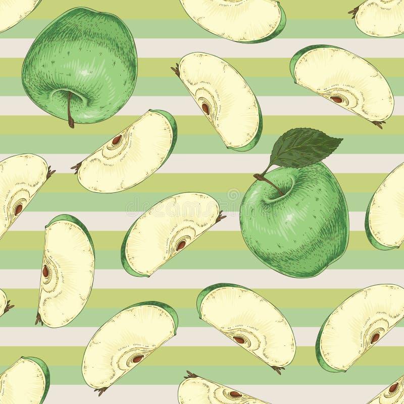 Modelo inconsútil rayado Manzanas verdes stock de ilustración