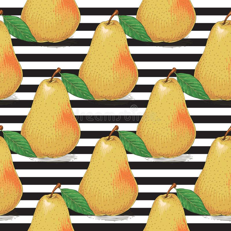 Modelo inconsútil rayado Peras amarillas maduras libre illustration