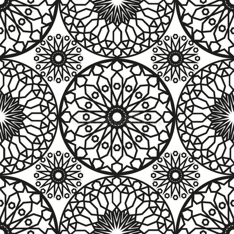 Modelo inconsútil redondo ornamental de Marruecos Ornamento tradicional de Oriente Adorno oriental plano Azulejo marroquí stock de ilustración