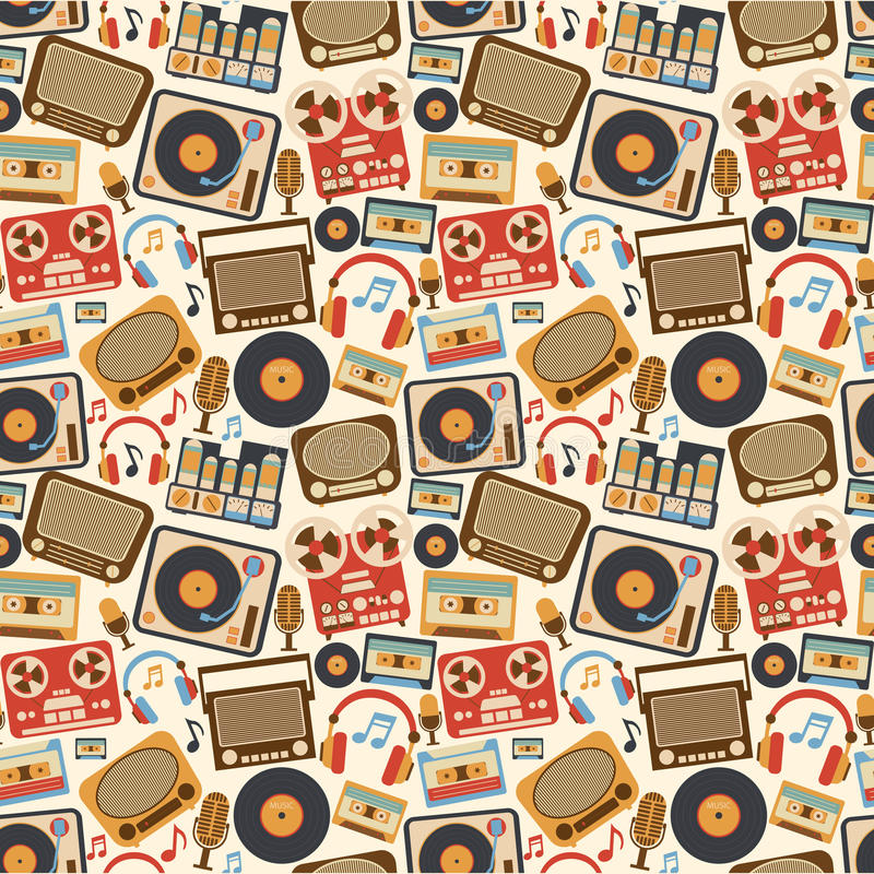 Modelo inconsútil retro de la música libre illustration
