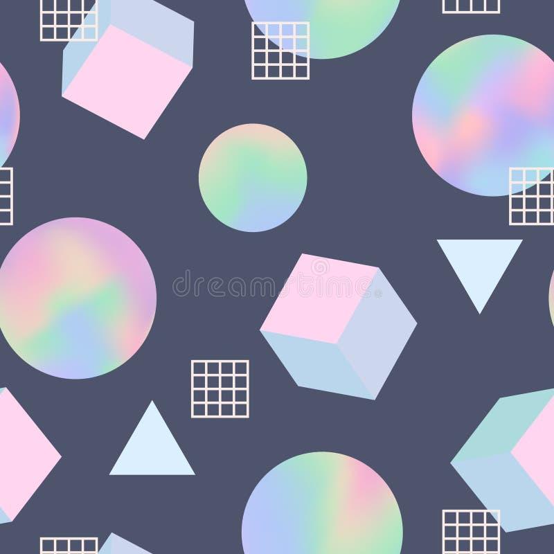 Modelo inconsútil retro de moda geométrico 80s ilustración del vector