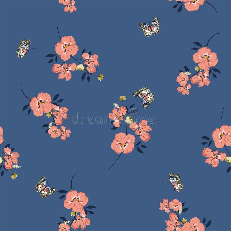 Modelo inconsútil retro en las flores del pensamiento del vintage del rosa del vector con las mariposas suaves y diseño apacible  stock de ilustración