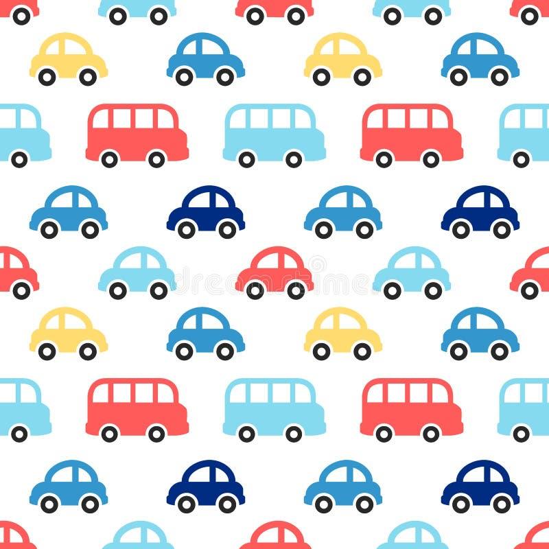 Modelo inconsútil retro lindo del muchacho con los coches y los autobuses coloridos ilustración del vector