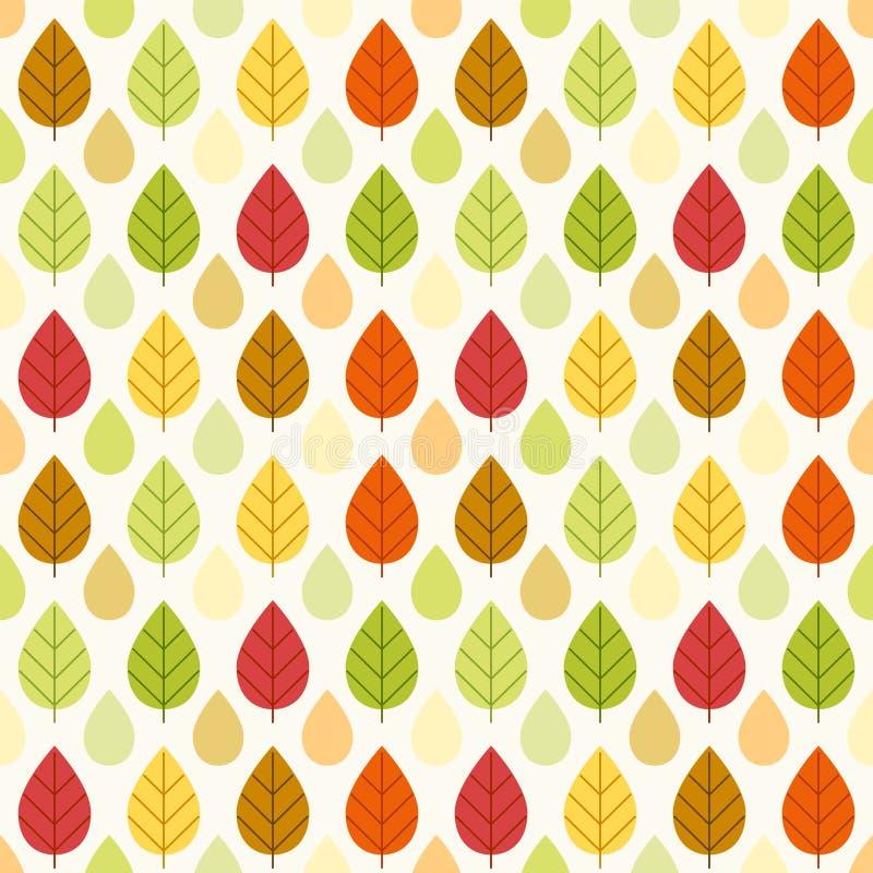 Modelo inconsútil retro primitivo con las hojas de otoño stock de ilustración