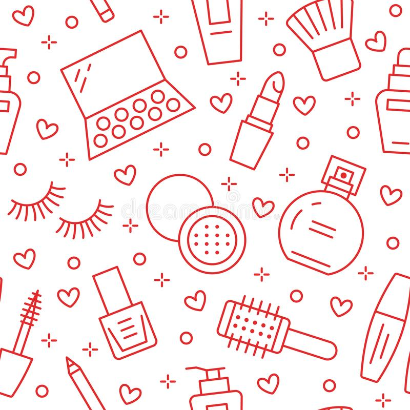 Modelo inconsútil rojo del cuidado de la belleza del maquillaje con la línea plana iconos Ejemplos de los cosméticos del lápiz la libre illustration