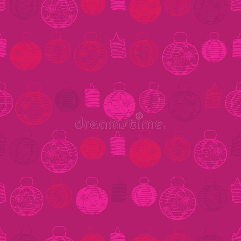 Modelo inconsútil rojo del vector con las linternas de papel Conveniente para la materia textil, el papel de regalo y el papel pi ilustración del vector