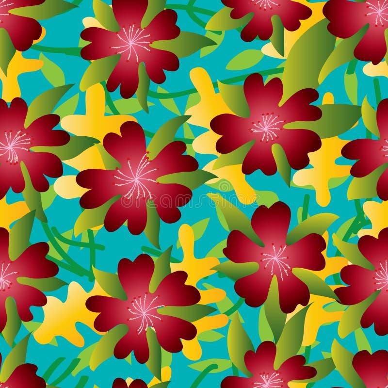 Modelo inconsútil rojo del verano del pétalo de la flor cinco libre illustration