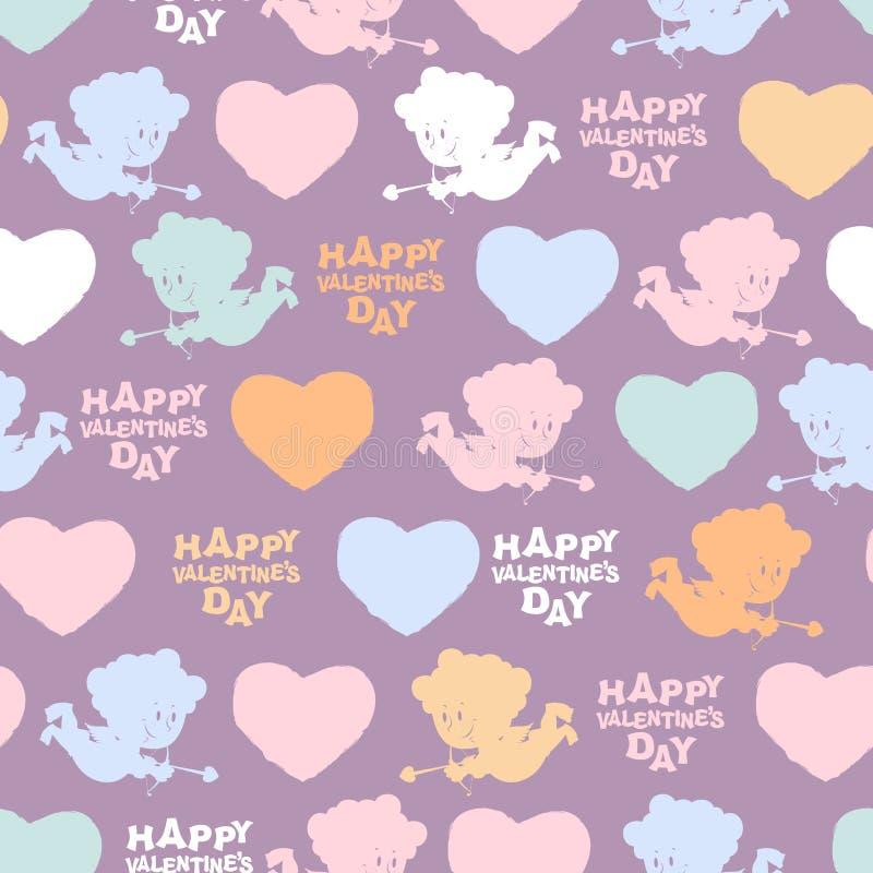 Modelo inconsútil romántico: Cupido y corazones Día de tarjetas del día de San Valentín feliz libre illustration