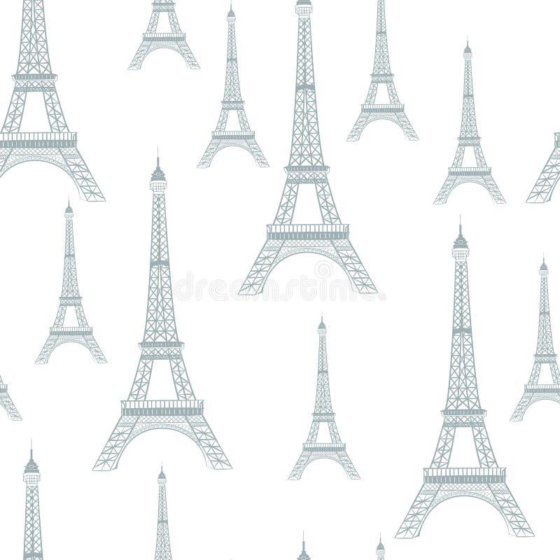 Modelo inconsútil romántico de París ilustración del vector