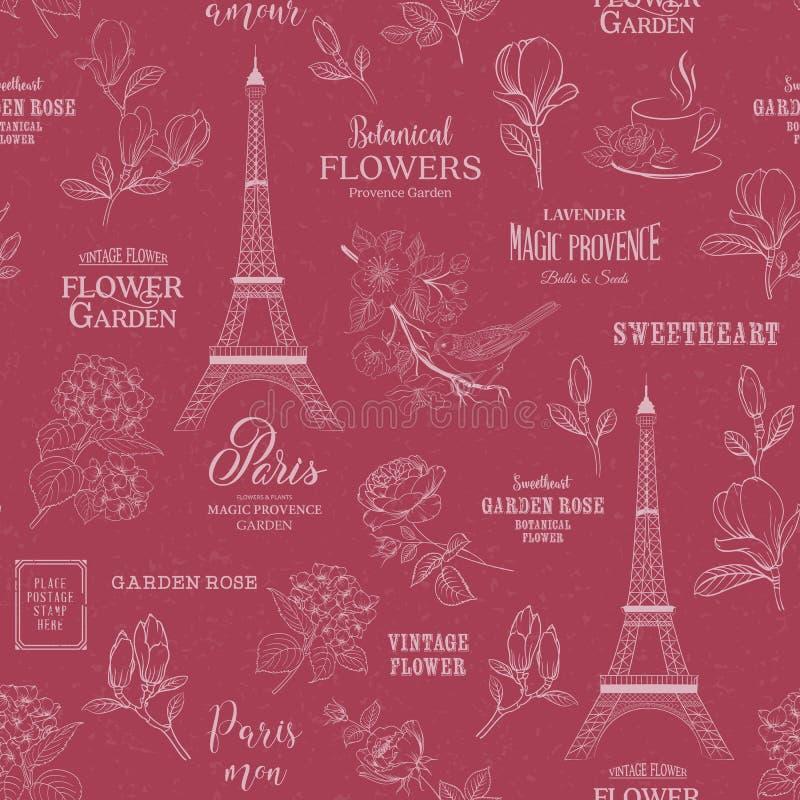 Modelo inconsútil romántico de París Muestra del viaje de la primavera con los pájaros, las flores y la torre Eiffel Muestra cali ilustración del vector