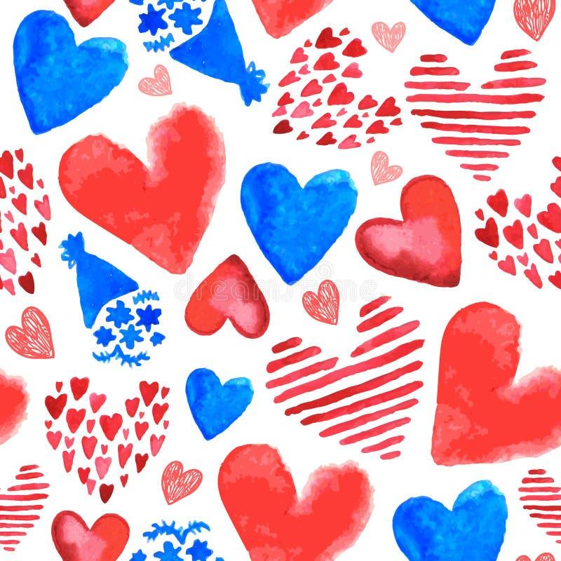 Modelo inconsútil romántico exhausto de la mano del vector Las flores, corazones garabatean el estilo, fondo del vintage de la ac ilustración del vector