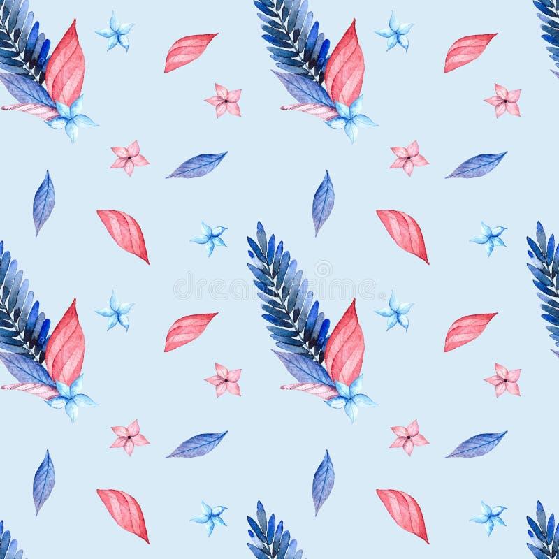 Modelo inconsútil, rosa y hojas azules stock de ilustración